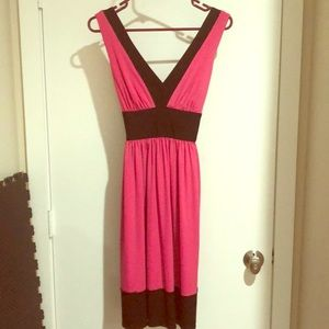 Hot Pink and Black Maggy London Sleeveless Dress